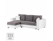 Ecksofa Dublin II (mit Schlaffunktion) - Kunstleder/Strukturstoff - Longchair beidseitig montierbar - Weiß / Grau, roomscape