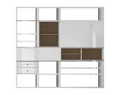 XL Regalwand Emporior I.C - Hochglanz Weiß / Eiche Sonoma Dekor - Ohne Beleuchtung, loftscape