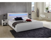 Cats Collection Design Lederbett 180 x 200cm weiß mit LED Leiste