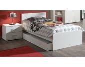 Vipack Set Milan best. aus Einzelbett 90x200, Bettschublade und Nachtkonsole Weiß