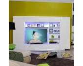 Schrankwand mit Farbwechsel Beleuchtung Weiß Hochglanz