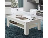 Hochglanz Wohnzimmertisch in Weiß Ablage