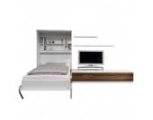 Schrankbett-Kombination Majano - 110 x 205cm - Bonellfederkernmatratze - Weiß / Nussbaum Dekor, Modoform