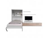 Schrankbett-Kombination Majano - 140 x 205 cm - Kaltschaummatratze - Weiß / Eiche Sonoma Dekor, Modoform