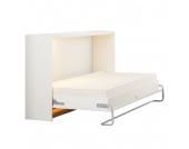 Schrankbett Godia - 90 x 200cm - Bonellfederkernmatratze - Weiß, Modoform