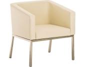 Edelstahl Lounge-Sessel NALA im Retro-Stil, mit Armlehne, Polsterstärke 8 cm, bis zu 11 Farben wählbar, Sitzhöhe 44 cm