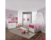 Sparset Kate (3-teilig) - Babybett, Wickelkommode & Kleiderschrank - Weiß/Rosa, Rauch Packs