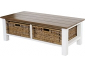 heute-wohnen Couchtisch Tula, Wohnzimmertisch Beistelltisch Holztisch, 38x112x52cm 2 Körbe