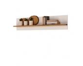 Hängeregal Mantua - Eiche Massivholz/Holzwerkstoff - Natur lackiert/Weiß - Breite: 180 cm, Perfect Furn