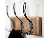 Kleiderhaken aus Mangobaum Massivholz Eisen