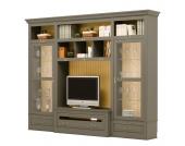TV-Wand Azjana II - Pinie teilmassiv - Granit / Pinie Creme - Ohne Leiter, Maison Belfort