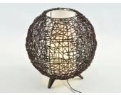 Runde Rattan Tischleuchte Tischlampe mit braunem Rattangeflecht