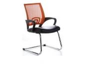 Konferenzstuhl / Freischwinger / Stuhl VISTO NET V Netzstoff schwarz / orange Chrom hjh OFFICE