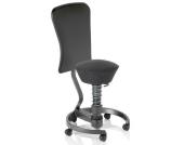 Bürostuhl / Rollhocker SWOPPER WORK CLASSIC schwarz mit Lehne u. SPEED-Rollen