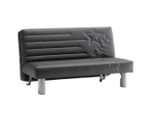 Sofa 2-Sitzer mit Schlaffunktion Schwarz
