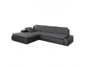 Ecksofa Grand Bahama (mit Schlaffunktion) - Kunstleder/Strukturstoff - Longchair beidseitig montierbar - Schwarz / Grau, Home Design